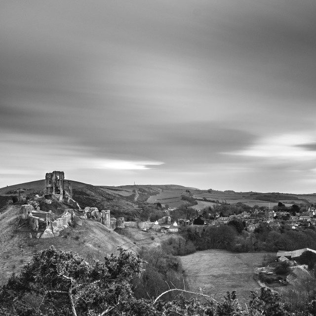"""Corfe Castle under the clouds"" stock image"