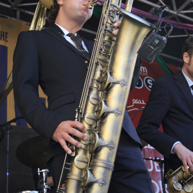 """Koen Schouten plays baritone sax"" stock image"