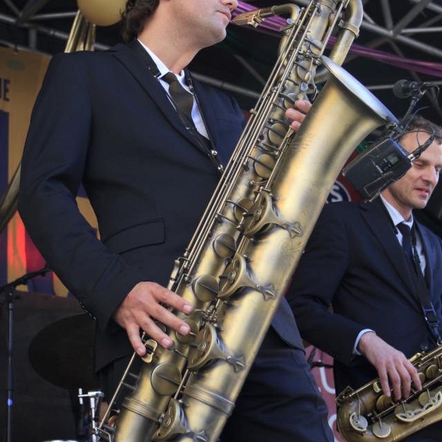 """Koen Schouten on baritone sax"" stock image"