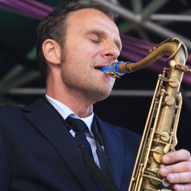 """""""Jeroen van Genuchten plays tenor sax"""" stock image"""