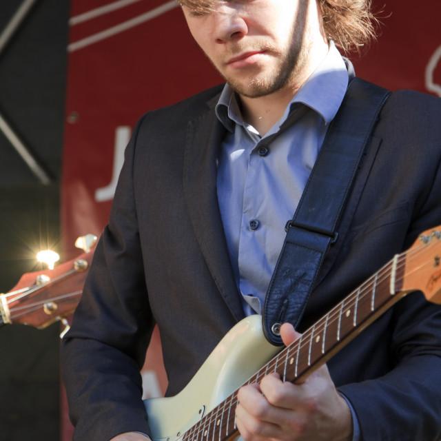 """""""Martijn Smit plays guitar"""" stock image"""