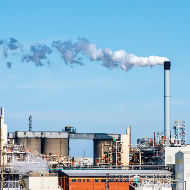 """Chemical Plant Smoke Stack"" stock image"