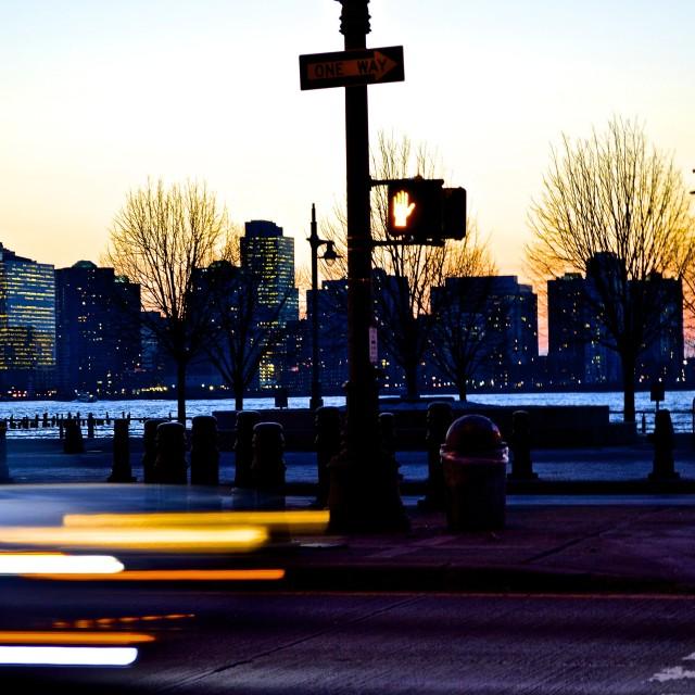 """Twilight at the Hudson"" stock image"