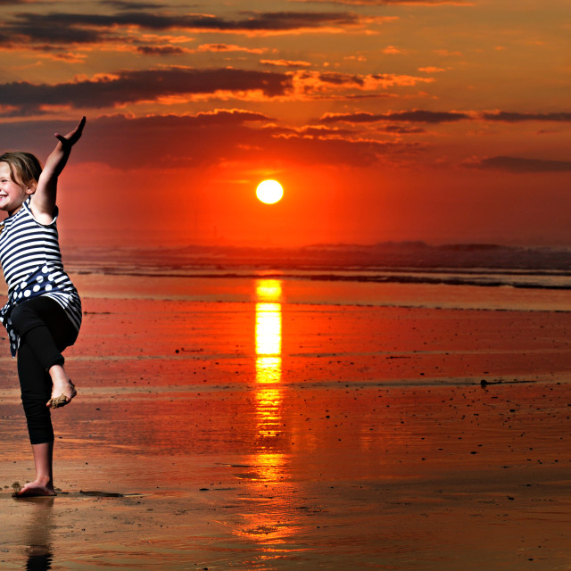 """Beach Girl Sunset"" stock image"