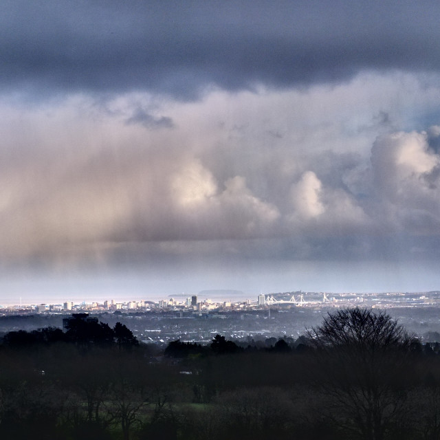 """Cardiff - Rain Clouds"" stock image"