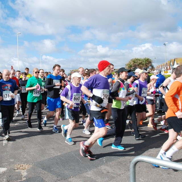 """Hastings Half Marathon, 2014"" stock image"