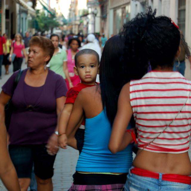 """Woman with child in Havana/La Habana, Cuba"" stock image"