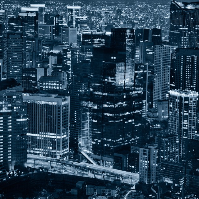 """Tokyo High-rise in Blue"" stock image"