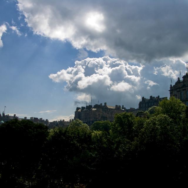 """Overlooking Princes Street Gardens; silhouette"" stock image"