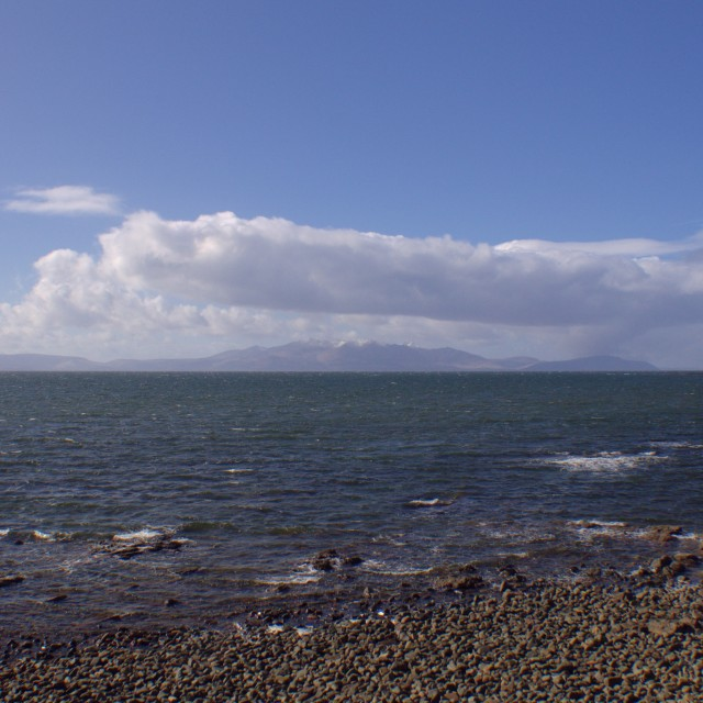 """Arran from Ardrossan, Winter sunshine"" stock image"