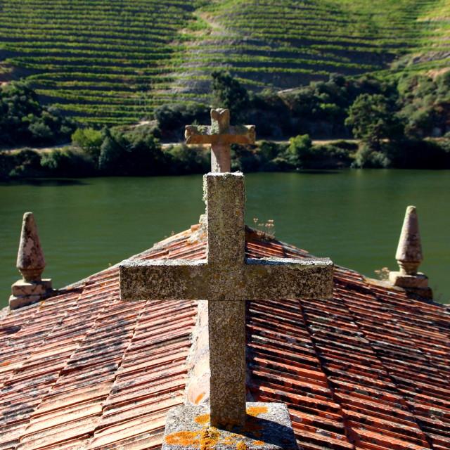 """Church among the vineyards"" stock image"