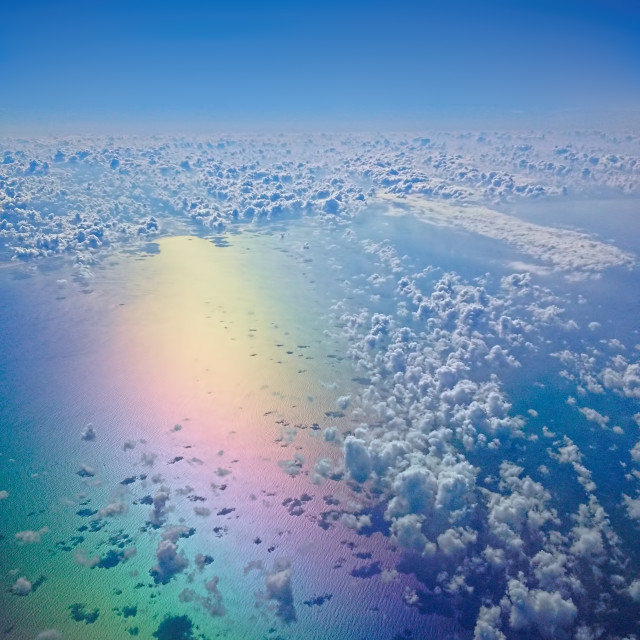 """rainbow sea from the sky"" stock image"
