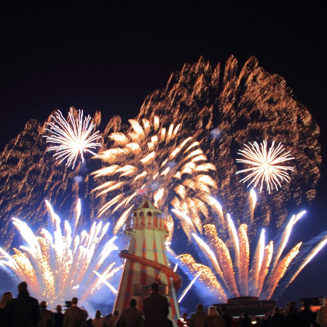 """Fireworks at the Fairground"" stock image"