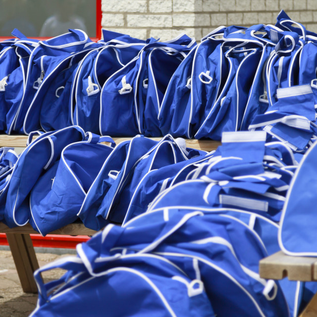 """Blue sports bags"" stock image"