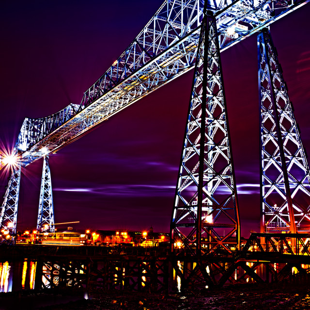 """Transporter Bridge at Night."" stock image"