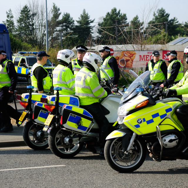 """""""Police Motorcycle Outriders,UK."""" stock image"""