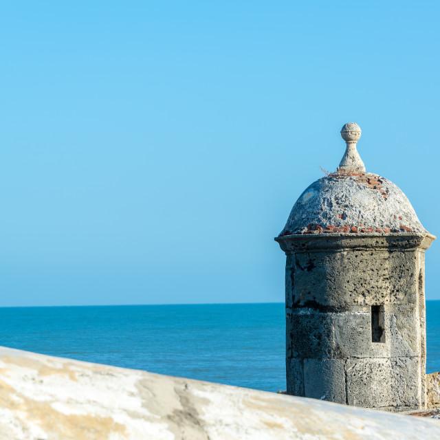 """Cartagena Wall and Sea"" stock image"