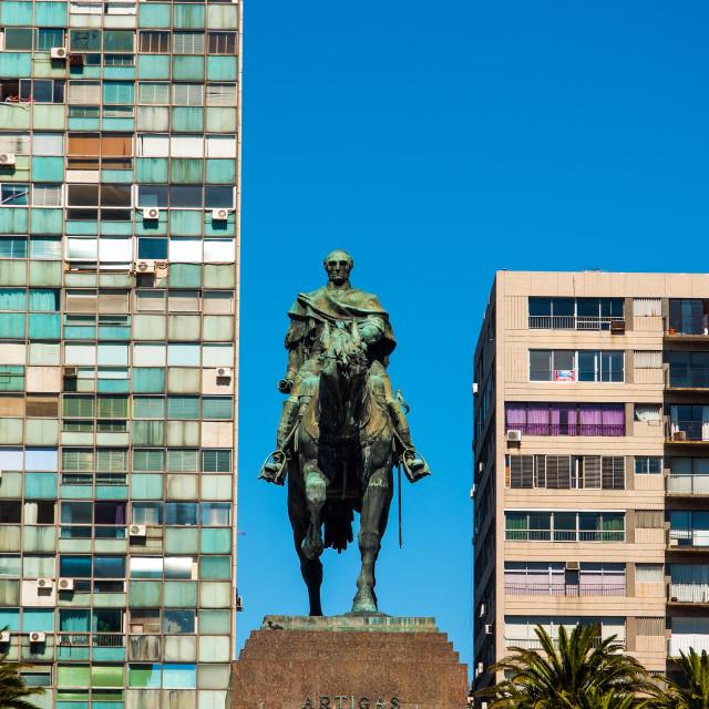 """""""Public Statue of General Artigas in Montevideo"""" stock image"""