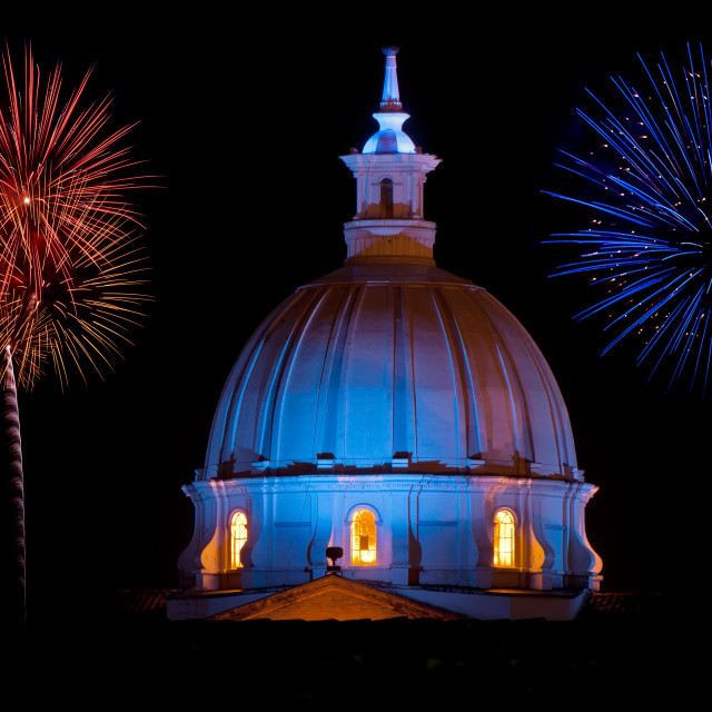 """""""Cathedral and Fireworks"""" stock image"""