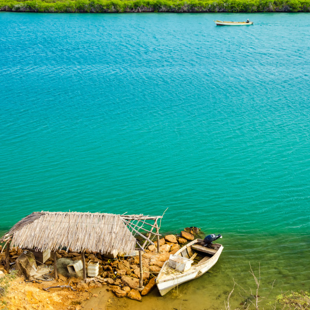 """Shack and Blue Water"" stock image"