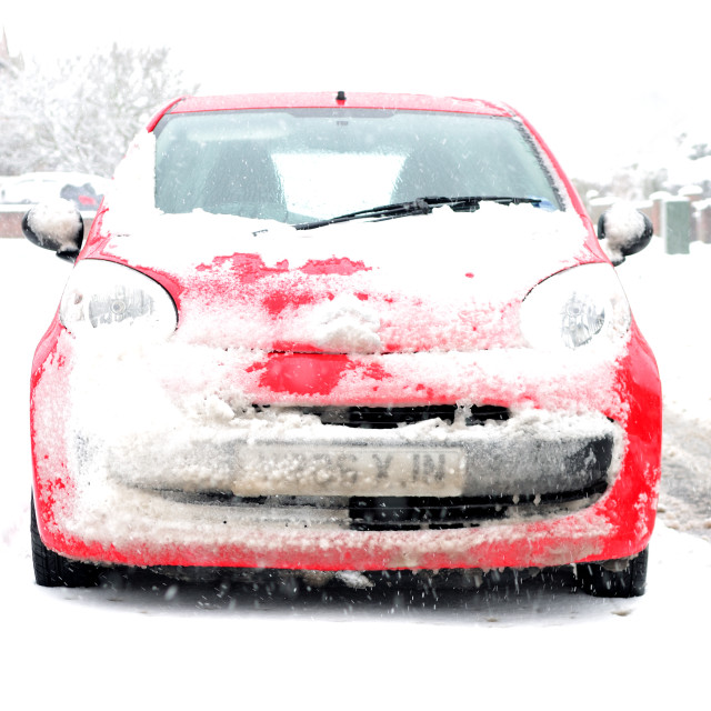 """""""Snow Covered Car ."""" stock image"""