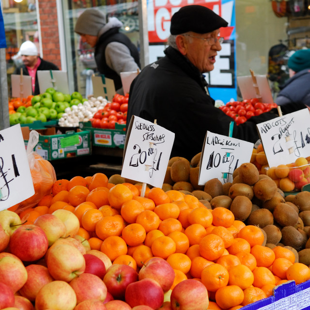 """Fruit and Vegetable Market Stall."" stock image"