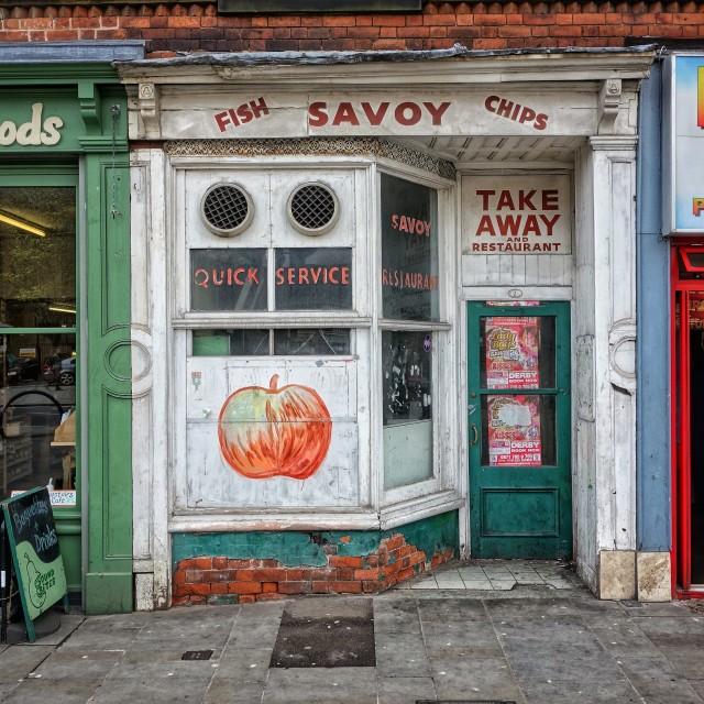 """Fish, Savoy, Chips."" stock image"