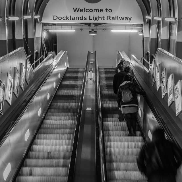 """Welcome to Docklands Light Railway"" stock image"