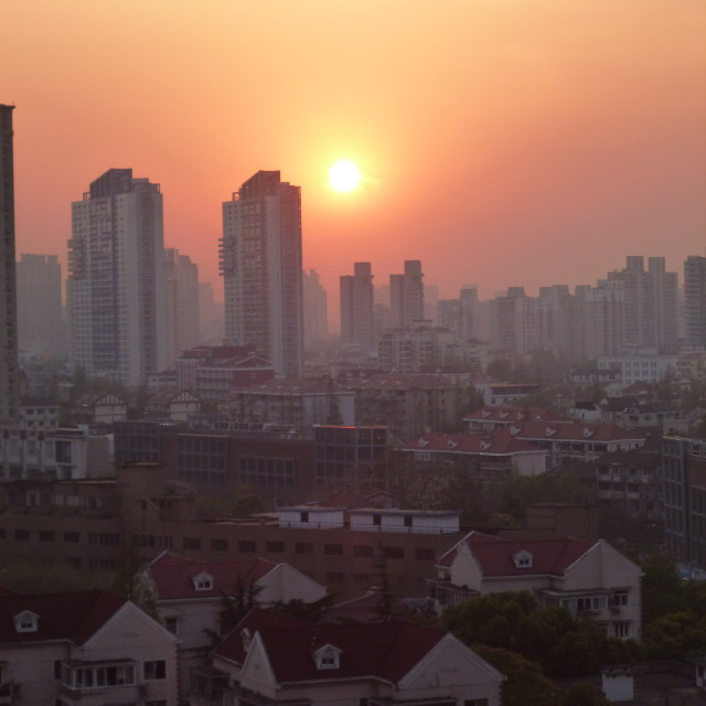 """Shanghai sunset"" stock image"