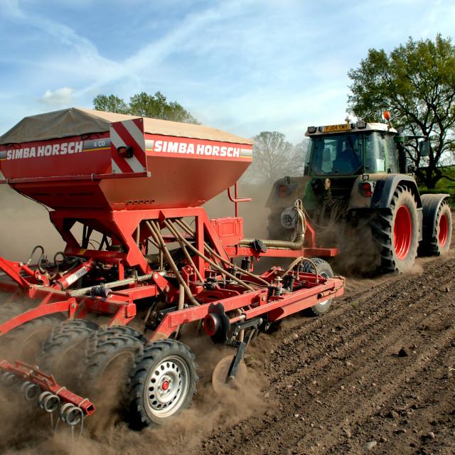 """""""Tractor And Seed Drill."""" stock image"""