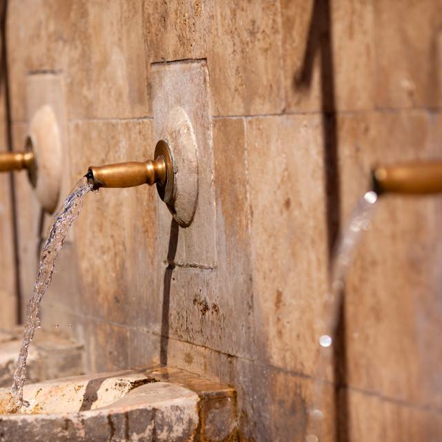 """""""Drinking fountain in Periana"""" stock image"""