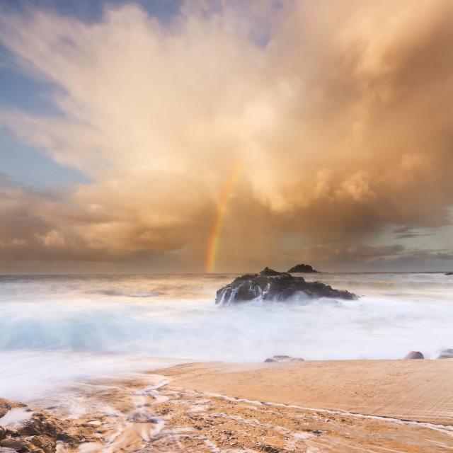 """Cornwall Rainbow - Priest's Cove / Cape Cornwall"" stock image"