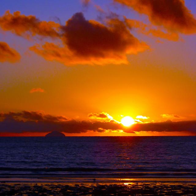 """Winter sunset over Ailsa Craig"" stock image"