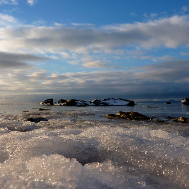 """Freezing Ardrossan Beach"" stock image"