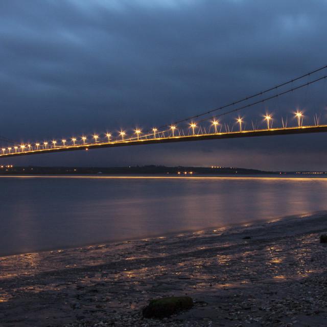 """Humber Bridge at night"" stock image"