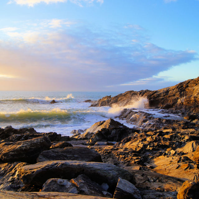 """""""Early light at Nuns Cove."""" stock image"""
