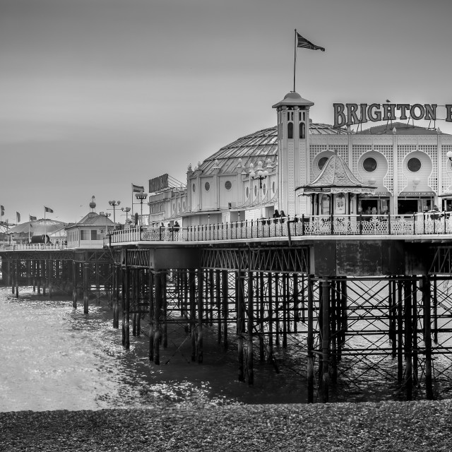 """""""Brighton Pier B&W"""" stock image"""