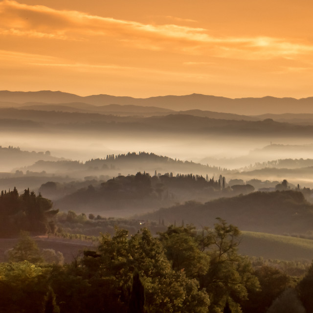 """Tuscany Sunrise"" stock image"