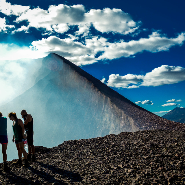 """Peering into the volcano"" stock image"