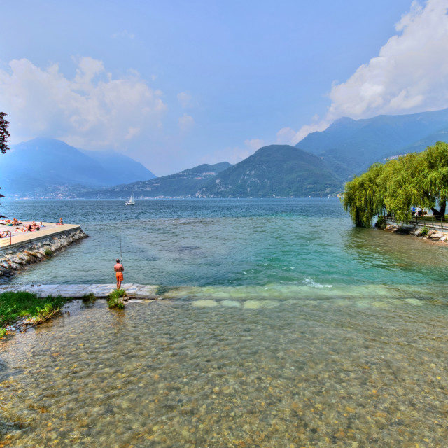 """Fishing at the Italian Lakes"" stock image"