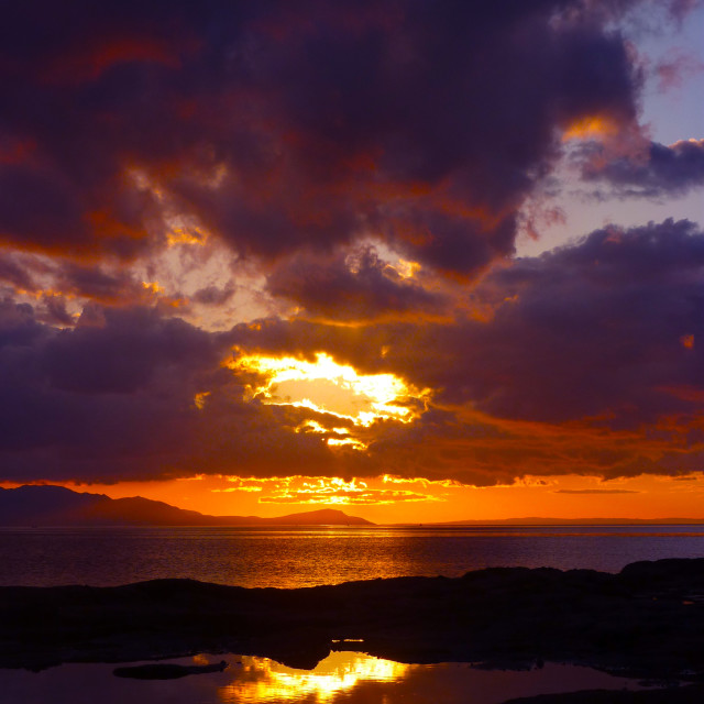 """""""Sunset over Firth of Clyde"""" stock image"""
