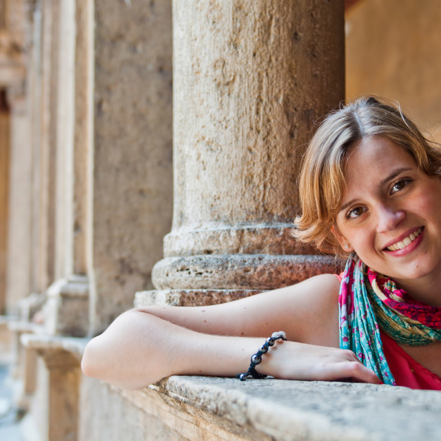 """""""Tourist in Rome at Santa Maria della Pace Church"""" stock image"""