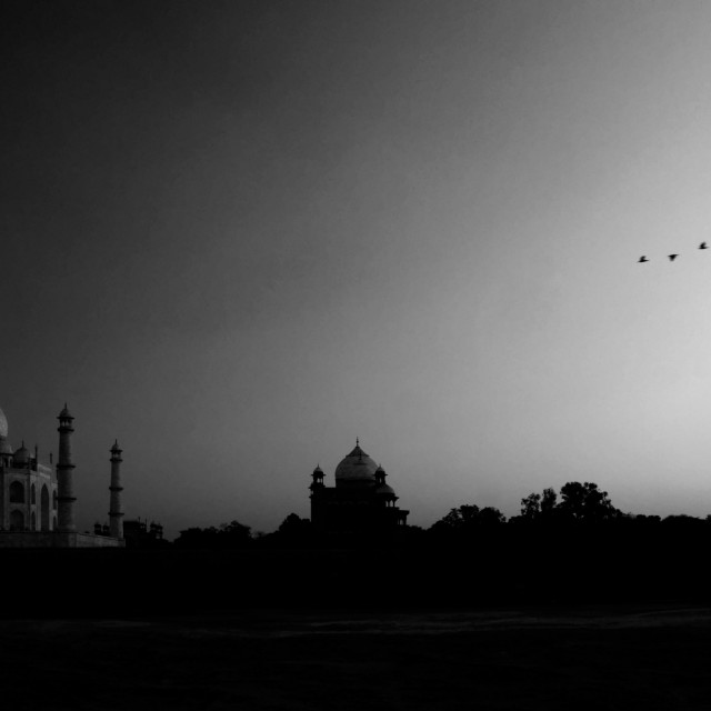 """Black and White Taj Mahal Sunset"" stock image"