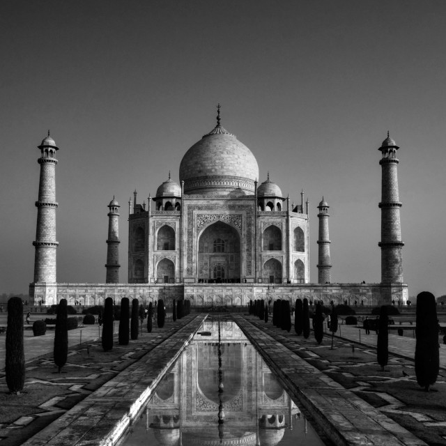 """Taj Mahal, Black and White"" stock image"