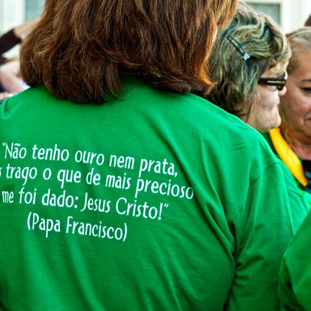 """Brazilian pilgrims quote Pope Francis"" stock image"