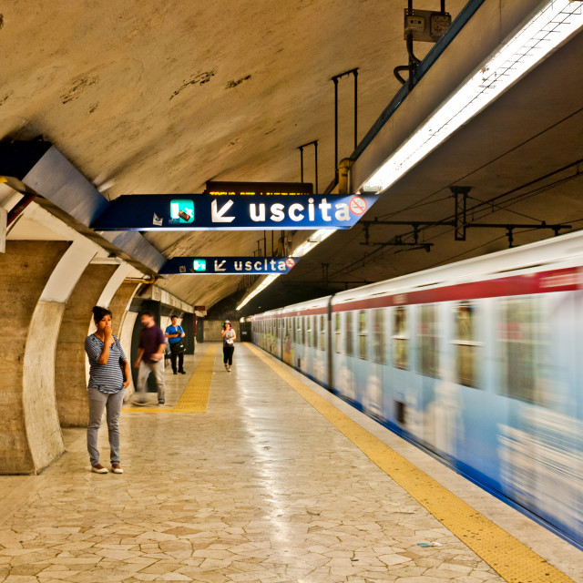 """Metro leaving Colloseo station"" stock image"