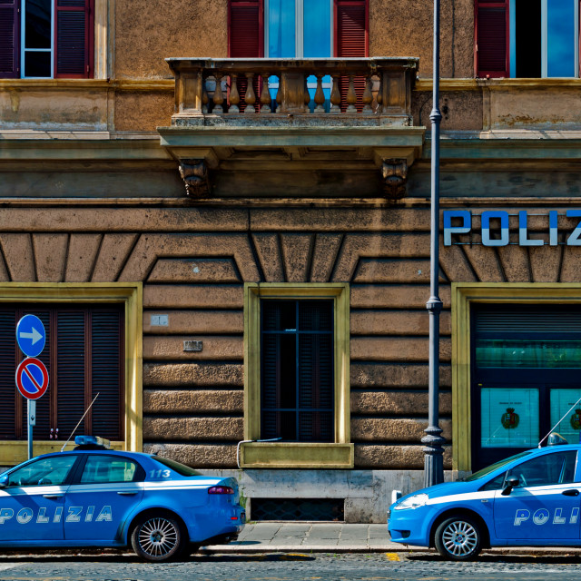 """Police vehicles in Rome"" stock image"