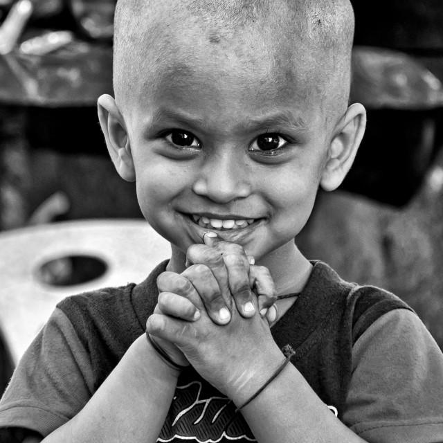 """YANGON STREET KID"" stock image"