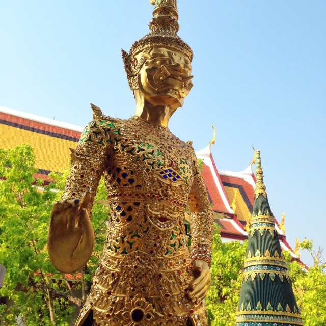 """Giant in Temple of the Emerald Buddha"" stock image"