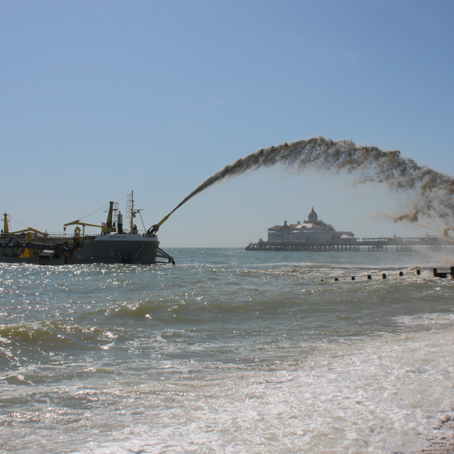 """Shingle replenishment - Eastbourne Beach"" stock image"